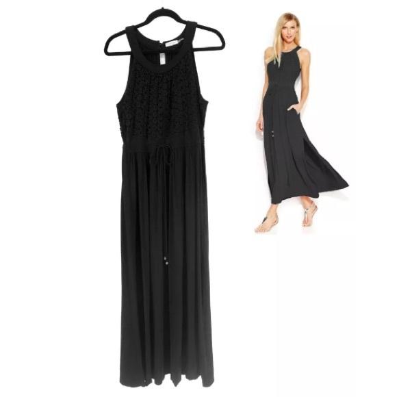 Calvin Klein Dresses & Skirts - 16 XL 1X▪️BLACK CALVIN KLEIN DRAWSTRING MAXI DRESS